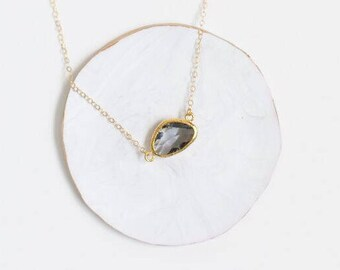 Gold Layering Necklace, Simple Dainty Layering Necklace, Gold Layering Necklace, Small Delicate Gold Necklace, Grey Pendant Necklace