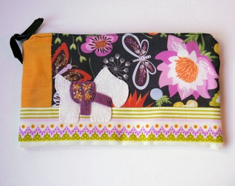 "Zipper Pouch, 5x8.5"" in green, fuchsia, cream and mustard Flowers with Handmade Felt Scottie Dog Embellishment, Scottish Terrier Pencil Case"