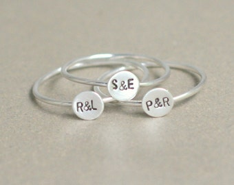 personalized initial ring in sterling silver. stacking ring gift for best friends sisters or mom. birthday gift for her. tiny letter ring.