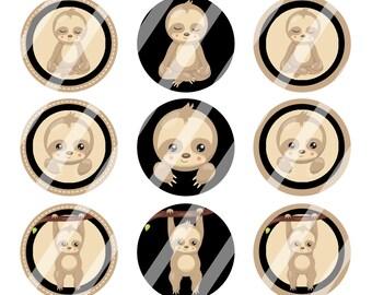 INSTANT DOWNLOAD / Sloths / Brown, Green, Light Blue / Digital Bottle Cap Image Sheet / 1 Inch Circles / 4x6 Collage Sheet /# BC154