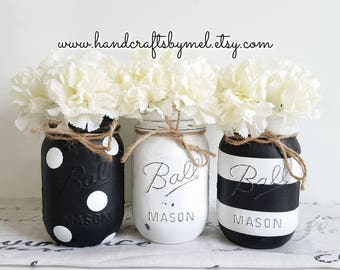 Black And White Mason Jar Set/Mason Jar Decor/Black U0026 White Decor/Wedding  Decor/Centerpieces/Bathroom Wall Decor/Kitchen Decor