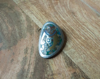 Inlaid Abalone Shell Organic Shape Brooch