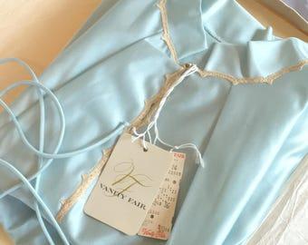 Vintage 1960's Pajama Set   Light Blue Nylon Satin with Rhinestone & Lace   New Old Stock   Vanity Fair   Boho Pajamas   Size M