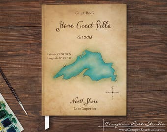 Personalized Lake House Guest Book, Vacation Home Watercolor Map Guest Book, Rental Property Guest Book, Housewarming, Any Location