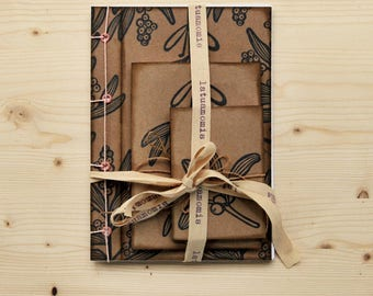 """Handmade notebook gift set with 100% recycled paper, handmade journal, writers journal, gift for her, """"Vischio"""""""