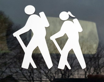 Hiking decal - male and female  or female and male - car windows, laptop