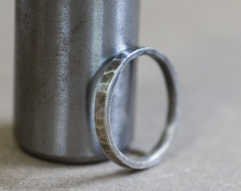 Hammered sterling silver ring, size - comfortable, rugged, and simple