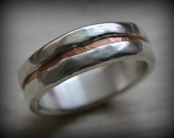mens wedding band - rustic fine silver and copper ring - handmade artisan designed wedding or engagement band - customized