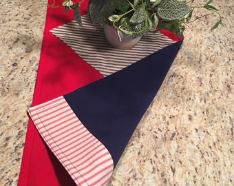 "Small table runner for 4th of July, reversible, 14x33"" in red, white and blue, easy care"