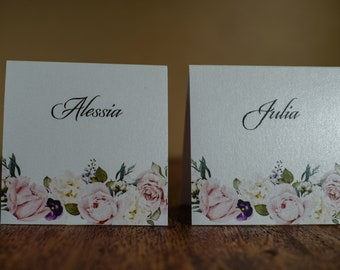 Personalized Place Cards, Floral Place Card, Wedding Place Cards, Folded Over Place Cards, Custom Place Cards, Personalized place card