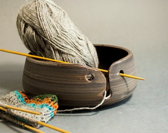 Ceramic yarn bowl for knitting . Small size rustic brown pottery Yarn Storage. Present for knitter. Inexpensive Crochet bowl.