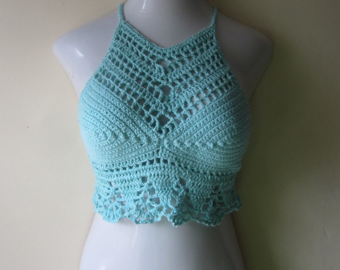 PASTEL BLUE TOP/ Crochet cropped halter top/High neck halter top, Music festival, festival clothing, boho fashion, beach cover up, gypsy top