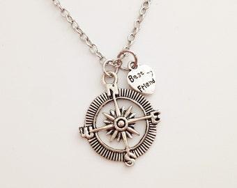 Compass necklace - best friend necklace - heart necklace - love - friendship - bff gift - girlfriend - birthday - Christmas