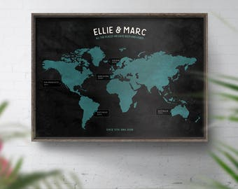 Bucket list map world travel map personalised map custom personalised world map travel map custom world map print map of the world wedding 1st anniversary gift 40th birthday gift places been gumiabroncs Image collections