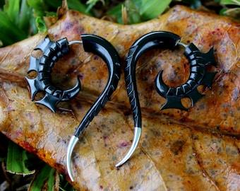 Fake Gauge Earrings - Natural horn Tribal Style Split Expanders Organic Hand Carved Fake Piercings M size
