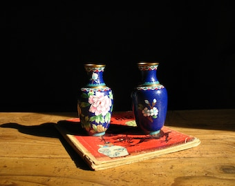 Pair of blue vintage vases cloisonné, Chinese, 1950s