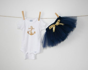 Newborn Outfit, Baby girl 1st Birthday, Cake Smash, Nautical, Outfit, Baby, Baby Shower, Gift, Tutu, Navy, Blue, Personalized