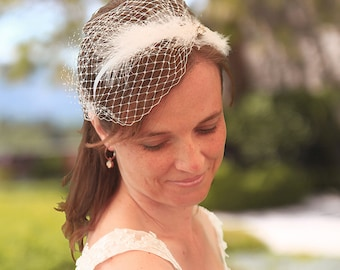 Bridal headband, birdcage veil, feather wedding accessory