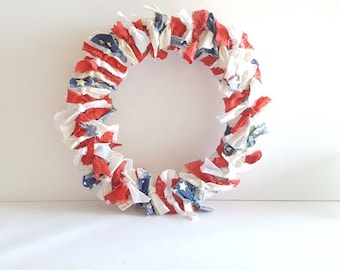 Ragged Flag Door Wreath July 4th Patriotic, USA, Fourth, America, Red, White, Blue, Star Spangled, Party, Picnic