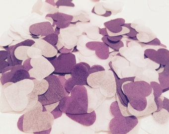 Purple and white heart wedding confetti - biodegradable