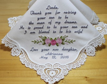 Embroidery Wedding Handkerchief with Claddagh Cluny Lace to Mother of Groom Monogrammed Personalized Custom(#18325-3)