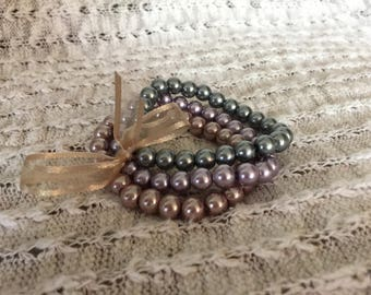 Champagne, dusty purple, & gray pearl 3-strand bracelet