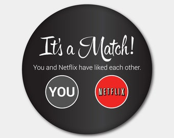 Tinder Netflix Magnet or Button. Netflix. Tinder. Swipe Left. Swipe Right. Netflix And Chill. Stocking Stuffer. Gifts For Her. Gifts For Him