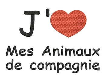 embroidery file J love my animals