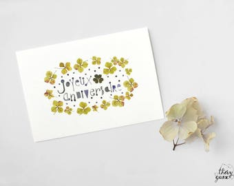 Happy Birthday flower card, Flower greetings, Cute anniversary card, Pressed flower, Typography art, Cute card, Cute stationery, Flower art