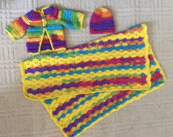 Hand crocheted baby gift set, Afghan, sweater, hat