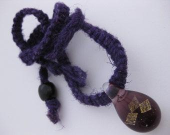 Clear & Plum Purple Glass Teardrop Pendant w/Three Square Flecks of Gold Dichro Dichroic Glass Pendant on Dark Purple Raw Hemp Necklace