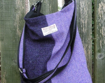 Harris Tweed and waxed cotton bucket bag