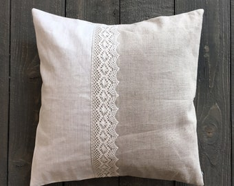 Gray white linen decorative pillow with lace