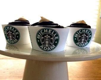 Starbucks Engagement/ Wedding Cupcake Wrappers
