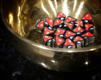 Toadstool Beads in Any Colour (Set of Six)