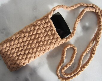 Crocheted Phone Cozy, Cross Body Cell Phone Purse, iPhone Cozy Pouch Bag, Mobile Phone Travel Holder Sleeve, Protective Smartphone Cover