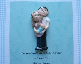 Personalised New Parents portrait greeting/ congratulations card by Hot Dough Creations