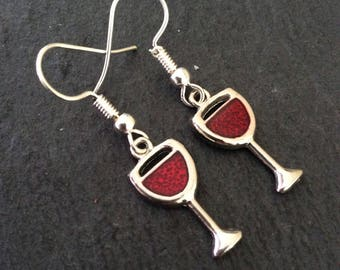 Wine Glass Earrings / Wine Jewellery / Wine lover gift / fun earrings / quirky jewellery