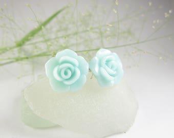 Teal Rose earrings, teal rose stud earrings, best friend gift, rose jewelry, rose earrings, flower earrings, teal stud earrings jewelry