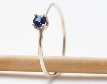 Sapphire Solitaire Ring: Silver & September Birthstone, Gifts for Graduation