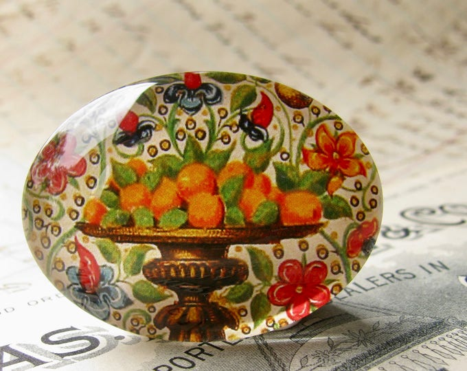 Florentine paper design, orange plate, 40x30mm glass oval cabochon, vintage fruit drawing, colorful produce, handmade this shop, 30x40mm