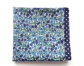 reversible pocket square   Liberty floral pocket square   blue polka dot pocket square   Liberty pocket square   handmade gifts for men