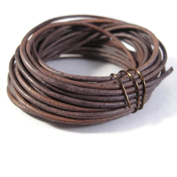 Natural Gray Leather Cord, 2mm, 2 Feet Coil of Natural Round Brown Leather for Jewelry Making, Necklace, Wrap Bracelets