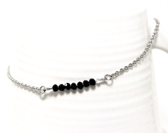 Stainless steel anklet with black crystals