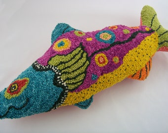 SPECIAL ORDERS* OOAK Hooked Fish | Rug Hooking | Custom hooked pillow | Folk art | Textiles | Fiber Art Sculpture | Katie Gardenia