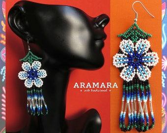 Huichol Earrings, Mexican earrings, Mexican Jewelry, Native american earrings, Mexican folk art, Flower Earrings, Beaded Flower, AF-0246