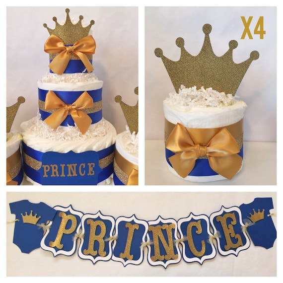 Prince baby shower party package in royal blue and gold for Baby shower decoration packages