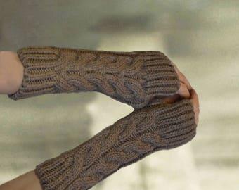 Gloves fingerless, Warm wool sleeves, Winter arm warmers, Warm wool wristlets, Fingerless mittens, Knit warm gloves, Wool wrist warmers