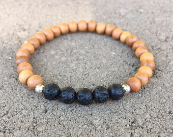 Sandalwood and Lava Stone Diffuser Aromatherapy Bracelet with essential oil sample - Meditation, Relaxation, Essential Oil Bracelet