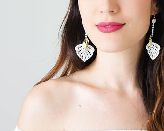 Off White Lace Earrings Dangle Earrings Long Earrings Boho Chic Elegant Earrings Bridal Earrings Bridal Jewelry Gift For Her/ CIEGA